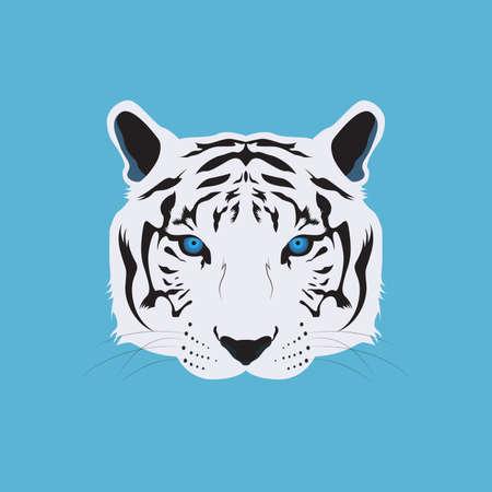 Vector e icono de cabeza de tigre de Bengala blanco
