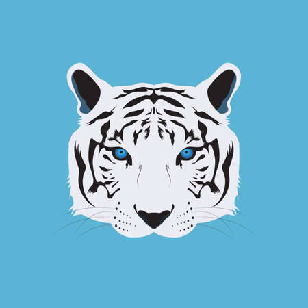 White Bengal Tiger Head Vector and Icon