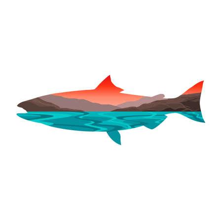 Salmon Fish Lake and River Landscape Silhouette Vector