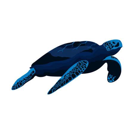 Sea Turtle Underwater Ocean Landscape Vector Иллюстрация
