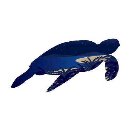 Sea Turtle Beach Island Landscape Conservation Environment Vector Иллюстрация