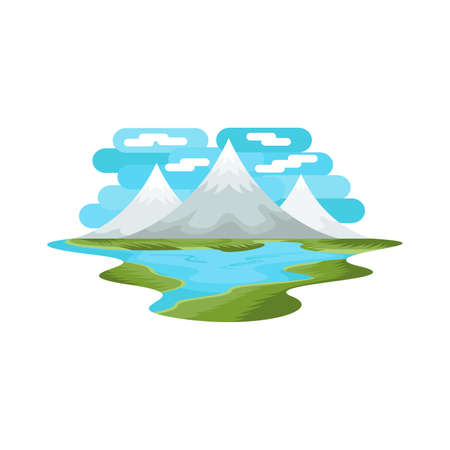 Rocky Mountain Lake and Nature Landscape Vector