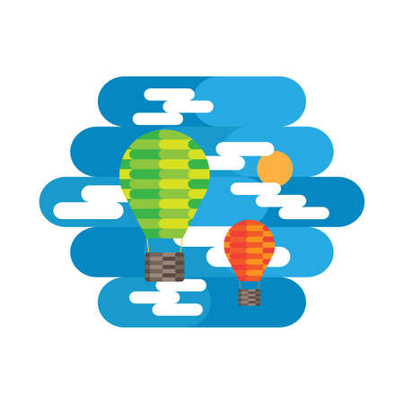 Balloon and Cloud in the Sky Vector and Icon