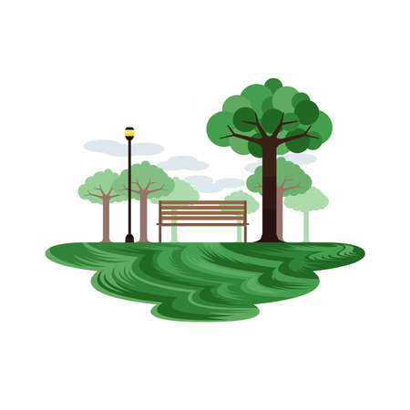 Bench in the Garden and Park Landscape Day Vector Иллюстрация