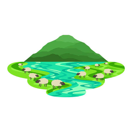 Sheep in the Field with Lake Countryside Landscape Vector Иллюстрация