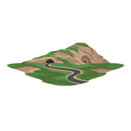 Tunnel Road under the Mountain Landscape Vector Ilustrace