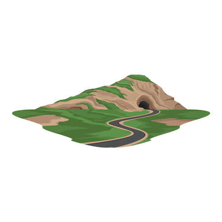 Tunnel Road under the Mountain Transport Landscape Vector