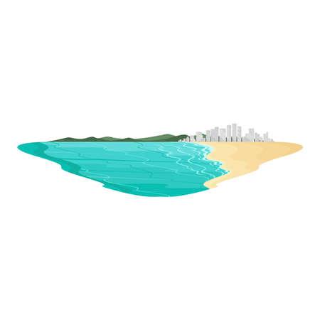City Beach Coastal and Sea Landscape Vector