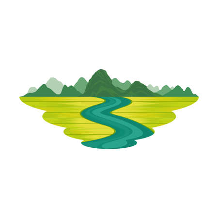Mountain Rice Field and River Landscape Vector