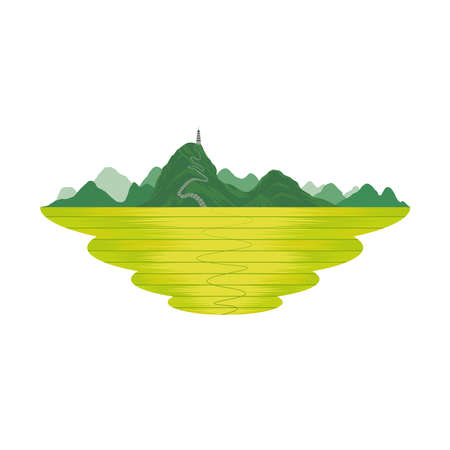 Vietnam Mountain with Pagoda and Rice Field Landscape Vector