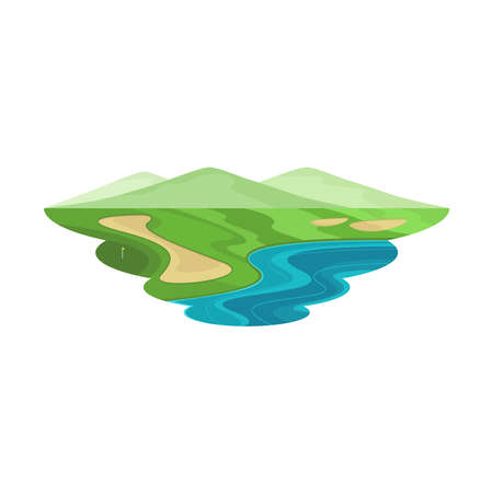 Golf Club Course Hill and Lake Landscape Vector
