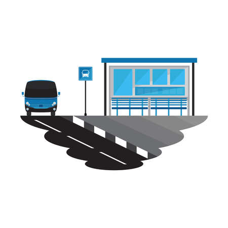 Bus Stop Road and Transport Landscape Vector