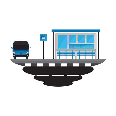 Bus Stop Transport and Road Landscape Vector