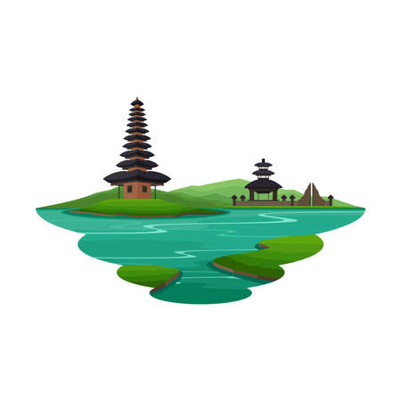 Bali Indonesia Ancient Temple and Island Landscape Vector