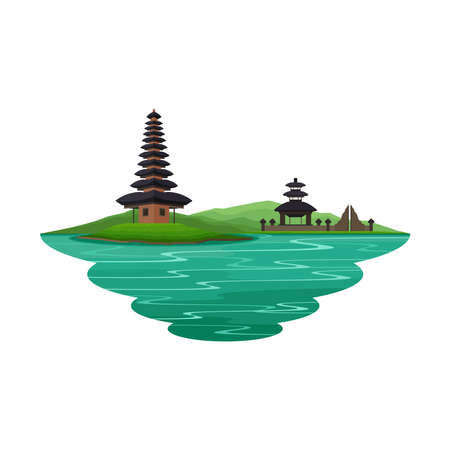 Bali Indonesia Ancient Temple and River Landscape Vector Illustration