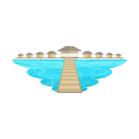 Maldives Beach Island and Resort Bridge Landscape Vector