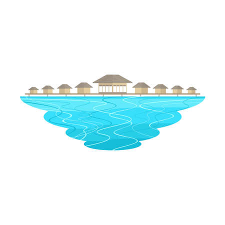 Maldives Beach Island and Resort Landscape Vector Иллюстрация