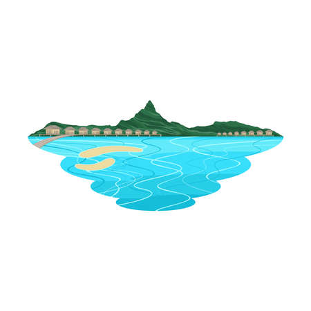 Bora Bora Beach Island and Resort Landscape Vector Stock Illustratie