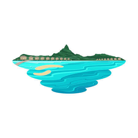 Bora Bora Island Beach Lagoon and Resort Landscape Vector