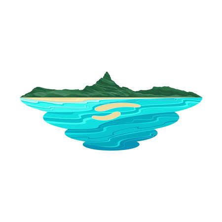Bora Bora Island Beach and Lagoon Landscape Vector