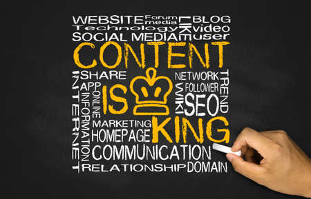 king of kings: content is king concept on blackboard