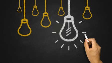 liderazgo empresarial: Bombilla en el fondo de la pizarra
