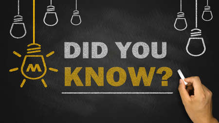 did you know on blackboard background Standard-Bild