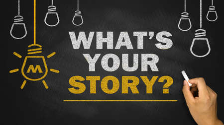 what's your story on blackboard background Standard-Bild