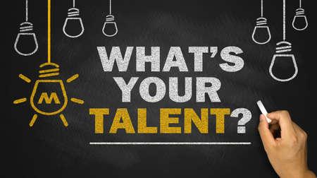 whats your talent on blackboard background 版權商用圖片