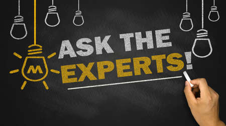 expert: ask the experts on blackboard background