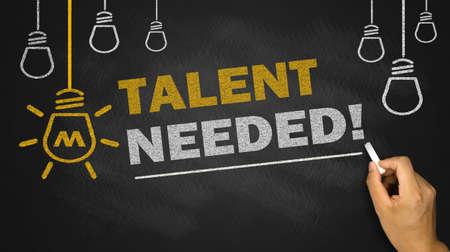 needed: talent needed on blackboard background Stock Photo