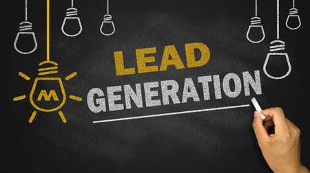lead generation on blackboard background photo