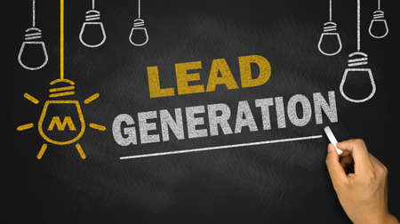 lead generation on blackboard background Standard-Bild