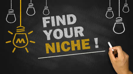 niche: find your niche on blackboard background