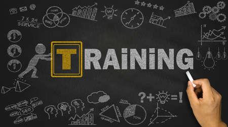 training concept on blackboard background
