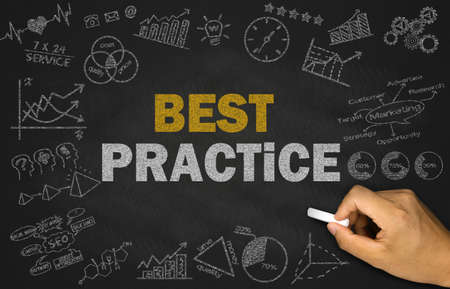 best practices: best practice concept on blackboard