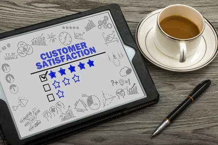 customer service: customer satisfaction concept on touch screen Stock Photo