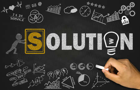 problems solutions: solution concept on blackboard background