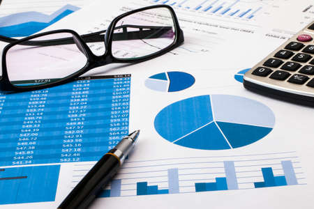 graph report: office scene:financial graph and chart Stock Photo