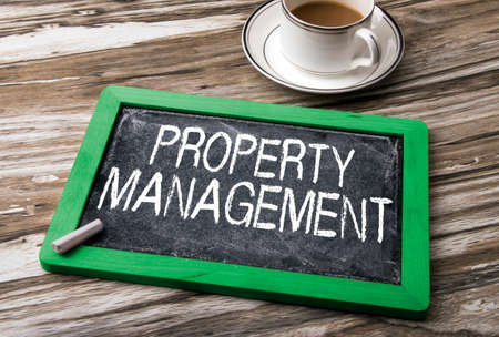 property management: property management written on blackboard