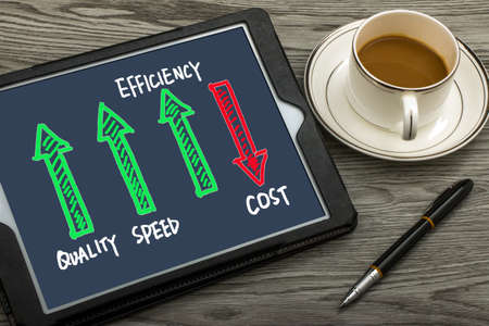 quality speed efficiency up cost down concept on tablet pc Stock Photo