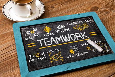 teamwork business: teamwork concept chart with business elements hand drawn on blackboard