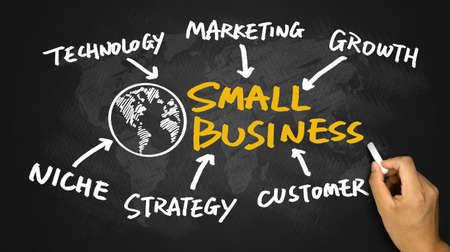 business and commerce: small business concept diagram hand drawing on blackboard