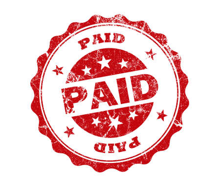 stamp of paid: paid stamp on white background