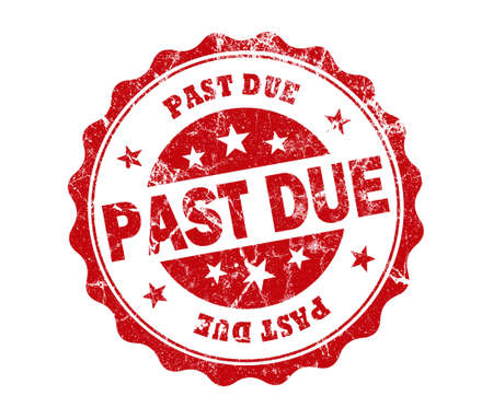 the past: past due stamp on white background