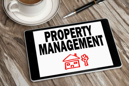 property management: property management concept displayed on tablet pc