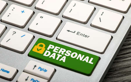 personal data: personal data security concept on keyboard Stock Photo
