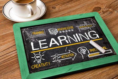 aprendizaje: concepto de aprendizaje con elementos de educaci�n Foto de archivo