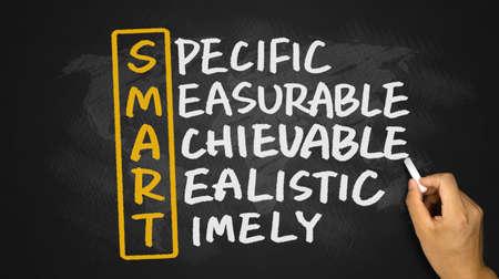 marketing goals: smart crossword concept handwritten on blackboard
