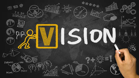 foresight: vision concept handwritten on blackboard Stock Photo